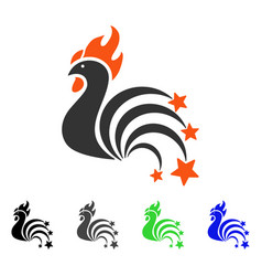Rooster sparkles flat icon vector