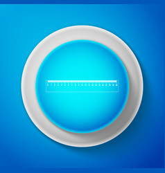 ruler icon on blue background straightedge symbol vector image