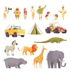 Safari travel icons set vector
