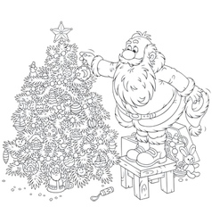 Santa decorates a Christmas tree vector