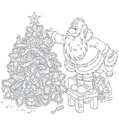 Santa decorates a Christmas tree vector
