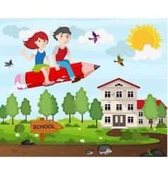 school children flying on a pencil vector image