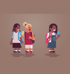 Schoolgirl being bullied text message mix race vector