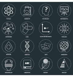 Science areas icons outline vector