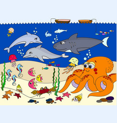 Seabed with marine animals for kids vector