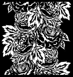 seamless monochrome pattern of flowers vector image