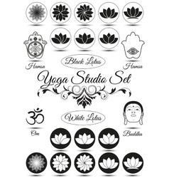 set black yoga studio elements vector image