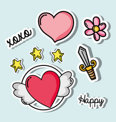 Set valentines day patches design vector