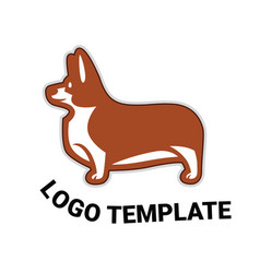 sign template with welsh corgi standing in profile vector image