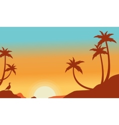Silhouette of palm on the hill vector