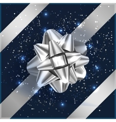 Silver and blue Christmas Bow with confetti on vector