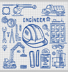 Sketch icons engineer drawing style vector