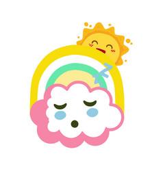 sleeping cloud with funny sun and rainbow seemless vector image