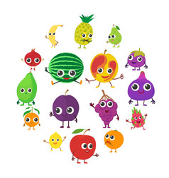 smiling fruit icons set cartoon style vector image