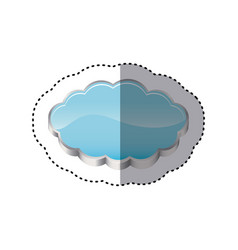 Sticker realistic 3d shape cloud storage vector