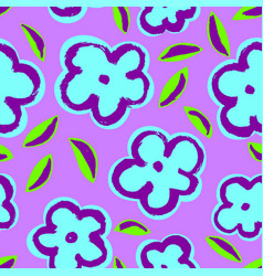 summer seamless pattern with leaves and flowers vector image