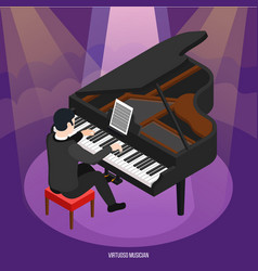Talented pianist isometric composition vector