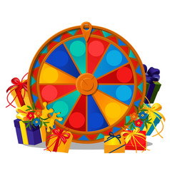 The wheel of fortune with gift boxes and flowers vector