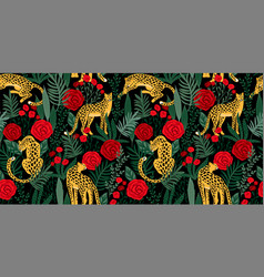 Vestor seamless pattern with leopards tropical vector