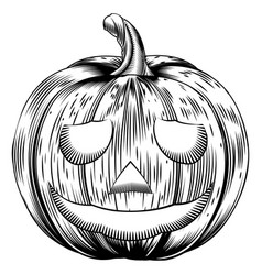 Vintage halloween pumpkin vector