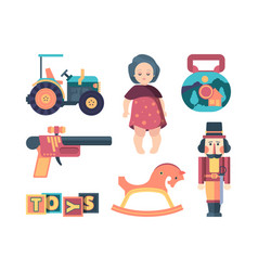 vintage toys happy childhood decorative funny vector image