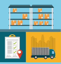 warehouse checklist and cargo truck vector image
