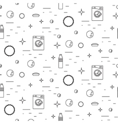 Washing machine and soap bubbles thin line vector image