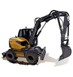 Wheel excavator machine vector