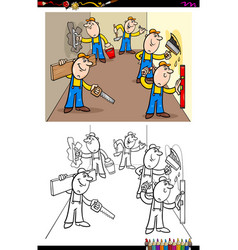 Workers or builders characters group color book vector