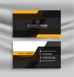 yellow and black elegant business card template vector image