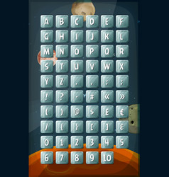 abc keyboard buttons on space background vector image vector image
