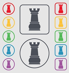 Chess Rook icon sign symbol on the Round and vector image