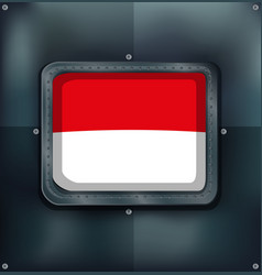 indonesia flag on metal wall vector image vector image