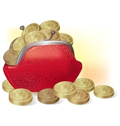 Purse full of coins vector image