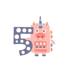 Unicorn Standing Next To Number Five Stylized vector image vector image