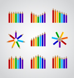 charts in the form of pencils vector image vector image