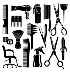 hairdresser tools icons set simple style vector image