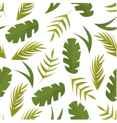 seamless pattern with tropical leaves on white vector image
