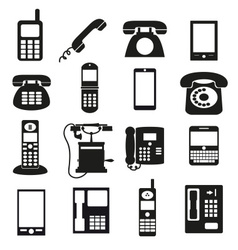 Various black phone symbols and icons set eps10 vector