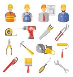 Construction workers tools flat icons set vector image vector image