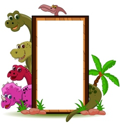 funny dinosaur with blank sign vector image