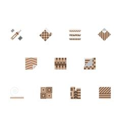 Linoleum brown flat style icons set vector image