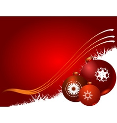 Red Christmas background with Christmas balls vector image vector image