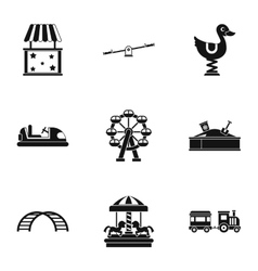 Rides icons set simple style vector