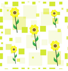seamless floral pattern with sunflowers vector image vector image