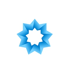 abstract blue star 3D logo vector image