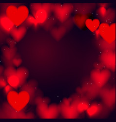 abstract red heart bokeh glitter lights background vector image