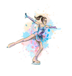 Abstract winter sport figure skating girl from vector