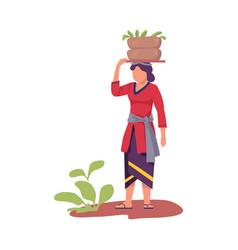Asian female farmer carrying wicker basket on her vector