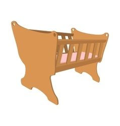 Baby cradle cartoon icon vector